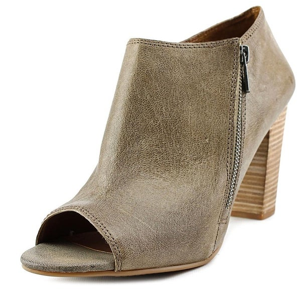 Lucky Brand Pabla Women Peep-Toe Leather Brown Ankle Boot