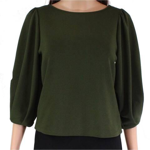 Moa Moa Blouse Olive Green Size XS Junior Puff Sleeve Crepe Boatneck
