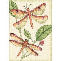 """5""""X7"""" 14 Count - Dragonfly Duo Mini Counted Cross Stitch Kit"""