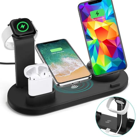 Wireless Charging Dock Station for iWatch, EarPod, & Universal Smartphone Charging (Rotating Dock w/ Outputs Included)