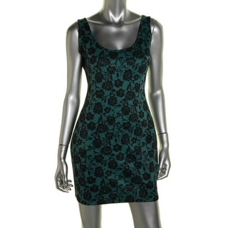 Material Girl Womens Juniors Clubwear Dress Floral Print Scoop Neck