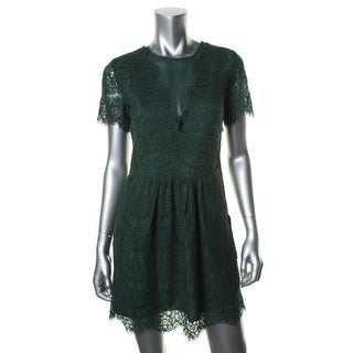 Doice Vita Womens Lace Overlay Short Sleeves Cocktail Dress