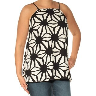 Womens Black Printed Spaghetti Strap Square Neck Top Size XL