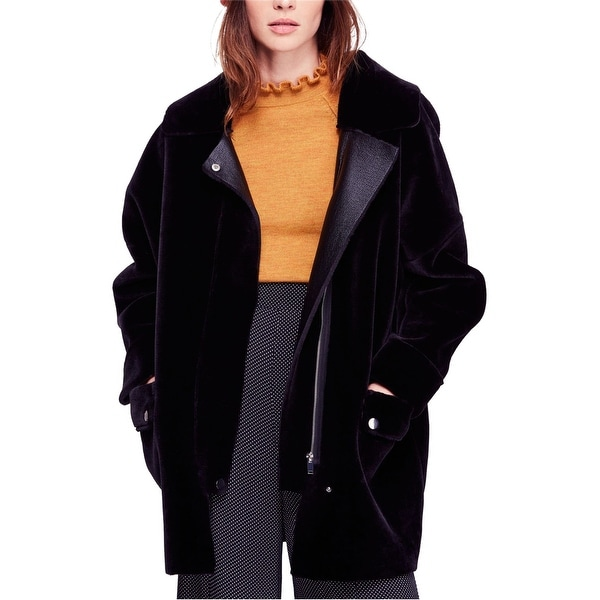 Free People Womens Faux-Fur Coat, black, X-Small. Opens flyout.