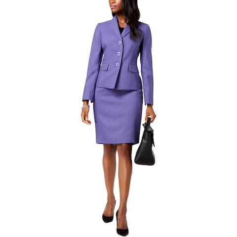 Le Suit Womens Petites Skirt Suit Three-Button Long Sleeve