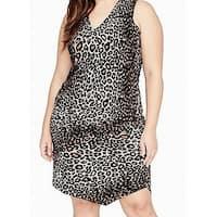 Rachel Rachel Roy Brown Womens Size 1X Plus Cheetah Sheath Dress