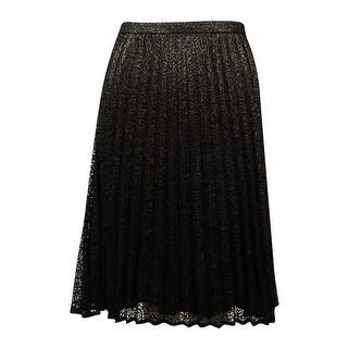 Calvin Klein Women's Metallic Lace Pleated Skirt - 14