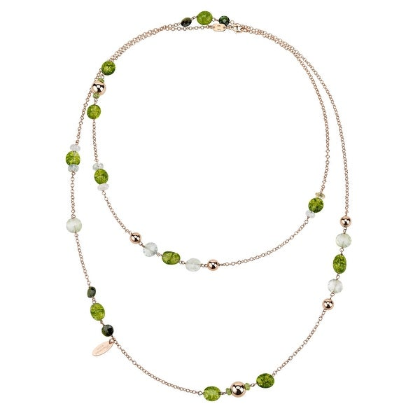 Zoccai 925 Green Agate & Green Quartz Necklace in Rose Gold-Toned Sterling Silver