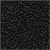 Toho Round Seed Beads 15/0 49F 'Opaque Frosted Jet' 8 Gram Tube