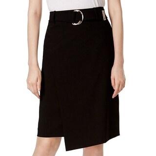 Calvin Klein NEW Black Women's Size 2P Petite Belted Pencil Skirt