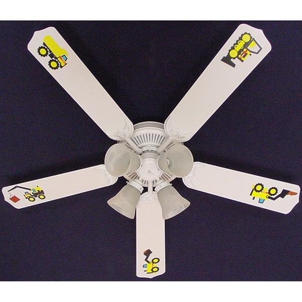 White Mighty Tonka Truck Print Blades 52in Ceiling Fan Light Kit - Multi