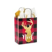 """Pack Of 250, Cub 8.25 X 4.75 X 10.5"""" Buffalo Plaid Christmas Paper Shopping Bags Made From Recycled White Gloss Paper"""