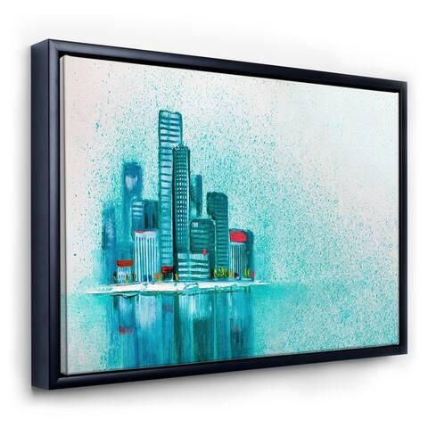 Designart 'Cityscape By The River I' Modern Framed Canvas Wall Art Print