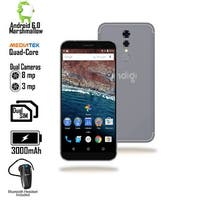 GSM Unlocked 4G LTE 5.6-inch Android SmartPhone by Indigi - QuadCore @ 1.2GHz + 1GB RAM + Bluetooth Headset (Black)