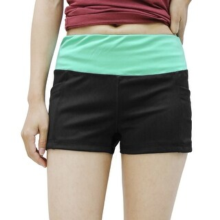 Ladies Black Green Size M Quick Dry Stretchy Skinny Gym Yoga Sport Shorts Pants