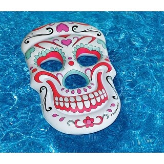"62"" Multi-Color Sugar Skull Inflatable Novelty Swimming Pool Float - White"