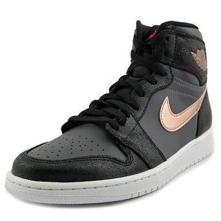 Jordan Air Jordan 1 Retro High Men Round Toe Leather Black Basketball Shoe