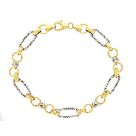"Forever Last 10 K Gold Bonded over Silver 2 Tone 7.5""Bracelet"