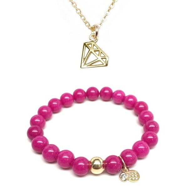 "Fuchsia Quartz 7"" Bracelet & Diamond Gold Charm Necklace Set"