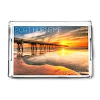 Port Hueneme CA Pier and Sunset LP Photography (Acrylic Serving Tray)