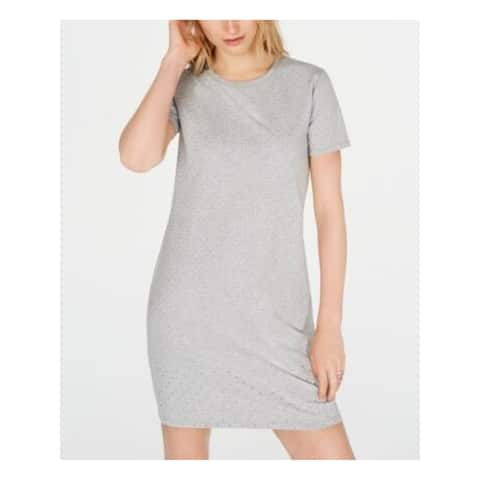 MICHAEL KORS Womens Gray Short Sleeve Short Sheath Dress Size PL