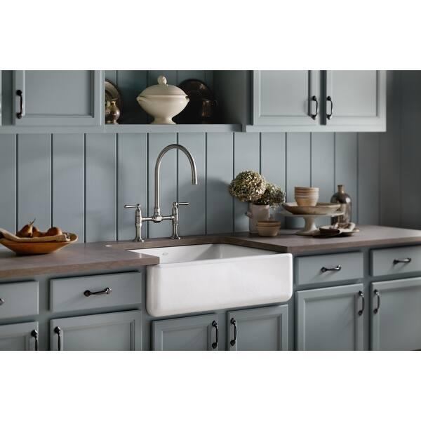 Kohler Apron Front Sink.Shop Kohler K 6487 Whitehaven 30 Self Trimming Single Basin