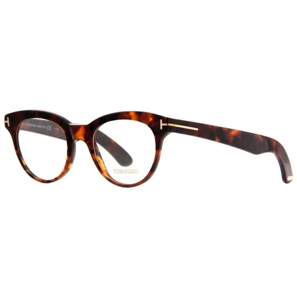 84bb23e15b230 Tom Ford TF 5378 052 49mm Havana Brown Round Eyeglasses - 49mm-20mm-145mm