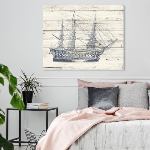 Oliver Gal 'Vintage Ship Blue' Nautical and Coastal Wall Art Canvas Print - Blue, White