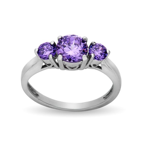 Ring with Amethyst Cubic Zirconia in Stainless Steel - Purple