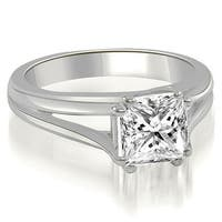 0.75 cttw. 14K White Gold Split Shank Cathedral Diamond Engagement Ring
