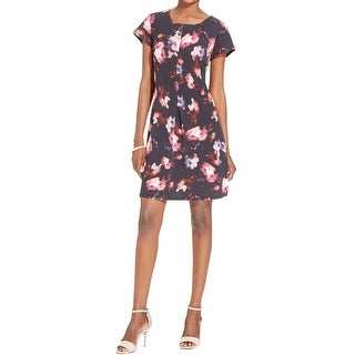 NY Collection Womens Petites Cocktail Dress Floral Print A-Line - pl