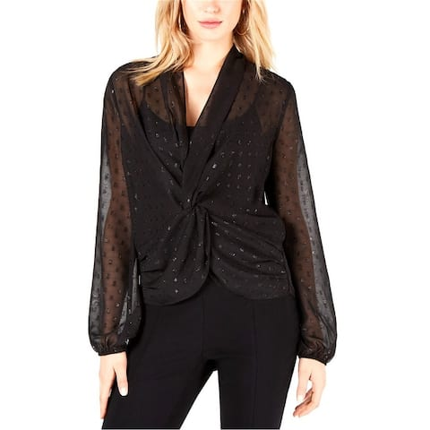 Leyden Womens Twist Front Pullover Blouse