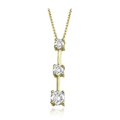 1.00 cttw. 14K Yellow Gold Three-Stone Round Cut Diamond Pendant