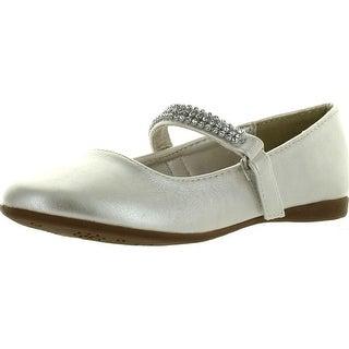 Little Angel Girls Kelly-767E Leatherette Round Toe Rhinestone Mary Jane Ballerina Flats - Ivory