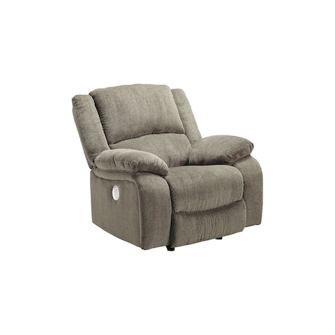 Draycoll Power Rocker Recliner, Light Gray/Tan