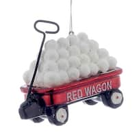 Kurt Adler Noble Gems Red Wagon Filled With Snowballs  Holiday Ornament