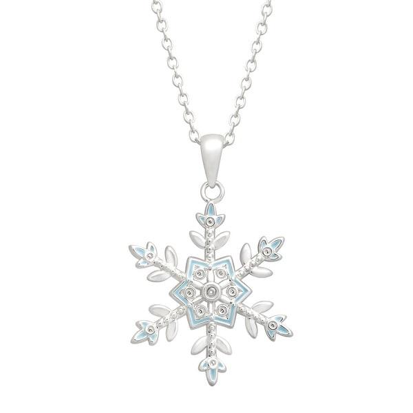 Disney's 'Frozen' Snowflake Pendant with Enamel in Sterling Silver-Plated Brass