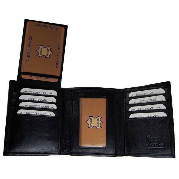 Improving Lifestyles Mens Leather Wallet Trifold Black Flipup Window ID FREE Organza Gift Bag SUN1222BK