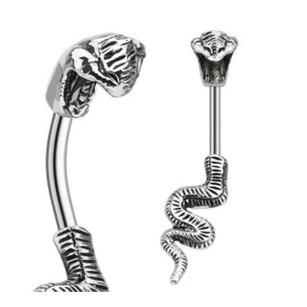 """Stainless Steel Poisonous Cobra Navel Belly Button Ring - 14GA 3/8"""" Long"""