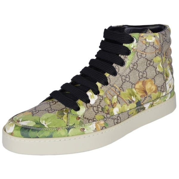 Gucci Men's 407342 GG Blooms Coated Canvas Coda High Top Sneakers Shoes 10.5G 11.5US - ebony beige|blooms - 11.5
