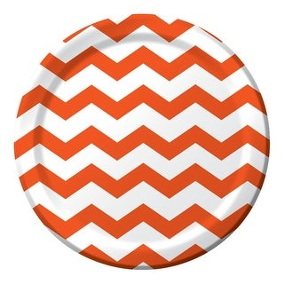 """Club Pack of 192 Chevron Dots Sun kissed Orange Disposable Paper Party Dinner Plates 9"""""""