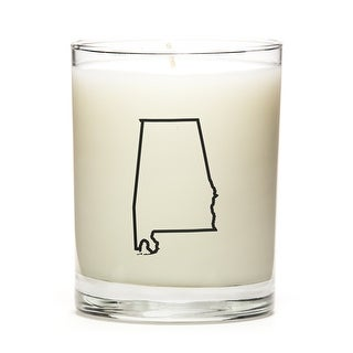 Custom Candles with the Map Outline Alabama, Fine Bourbon
