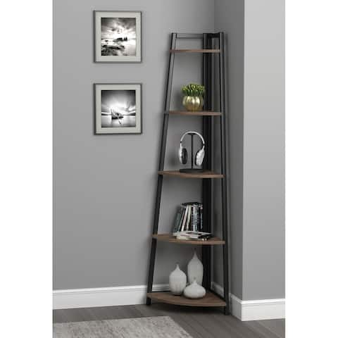 Carbon Loft Ander Aged Walnut and Black 5-tier Corner Bookcase