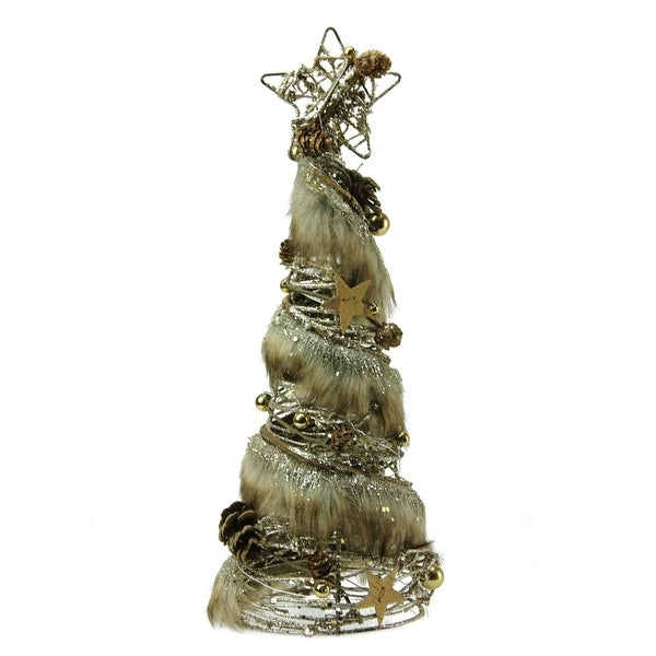 """15"""" Rustic Style Faux Fur Trimmed Glittered Christmas Tree Table Top Decoration"""