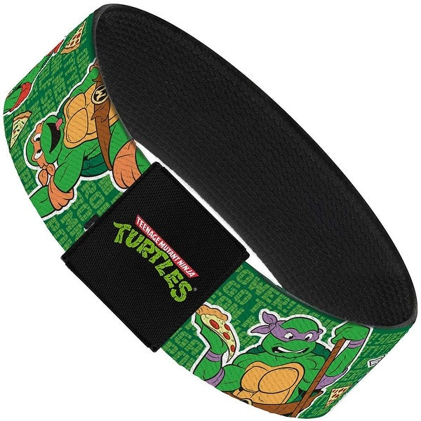 "I ""Heart"" Tmnt Classic Turtles & Pizza Green Elastic Bracelet"