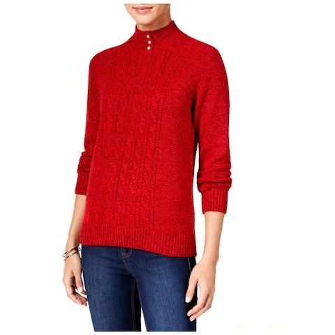 Karen Scott Womens Mock Sweater Cable Knit Marled - PXL