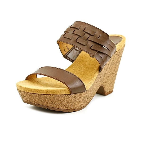 Chaps Jaslyn Women Open Toe Synthetic Brown Wedge Sandal