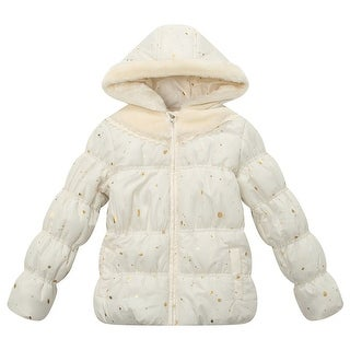Richie House Little Girls White Gold Printed Faux Hood Padded Jacket 4-7