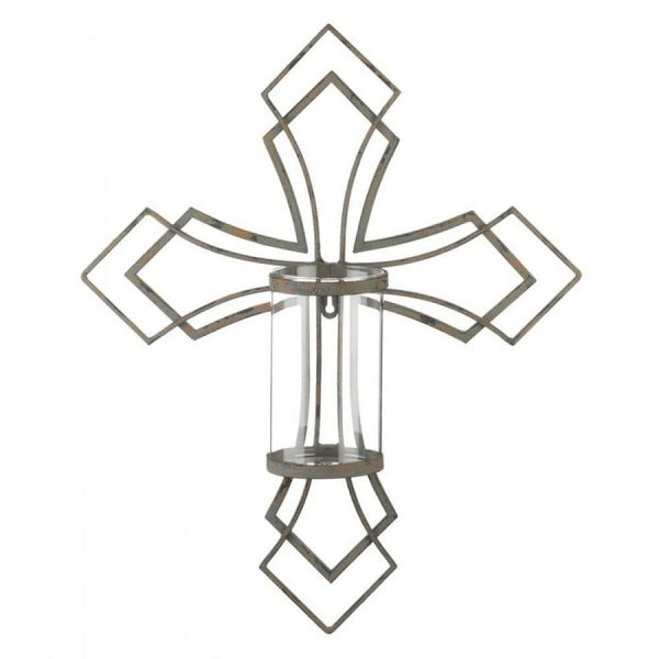 Set of 2 Decorative Cross Candle Wall Sconces