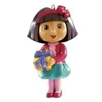 Carlton Cards Heirloom Dora the Explorer Holding a Yellow Gift Christmas Ornament - multi